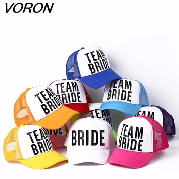 VORON BRIDE TO BE TEAM BRIDE Bachelorette Hats Women Wedding Preparewear Trucker Caps White Neon Summer Mesh Free Shipping