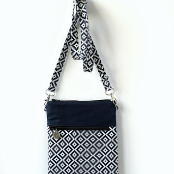 Sling bag, Cross Body Bag, Small Crossbody Bags, Shoulder Bag, Navy Blue Passport Purse