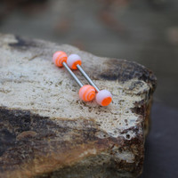 Orange Circle and Tribal Barbell Tongue Ring - Barbell - Body Jewelry - Tongue Piercing Jewelry - Conch Bar - Replacement Balls