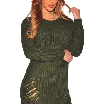 Green Ripped Knit Long Sleeves Sweater