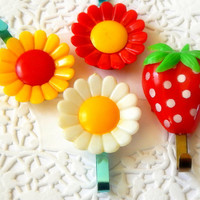 Vintage Flower Magnets. Strawberry Magnet. Refrigerator Magnet. Retro Flower. Strawberry Decor. Key Hook. Office Accessories. Mixed Media.