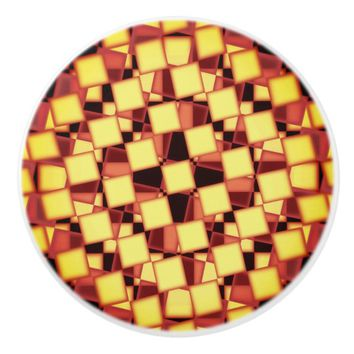 Colorful red and yellow checkered pattern ceramic knob