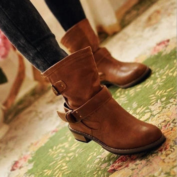 HOT!!  New Fashion women leather boots, female spring and autumn women's martin boots flat vintage buckle motorcycle boots! = 1946613444