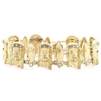 Iced Out Gold Jesus Face Pray Hand Micro Pave Simulated Diamond Bracelet Kb014g