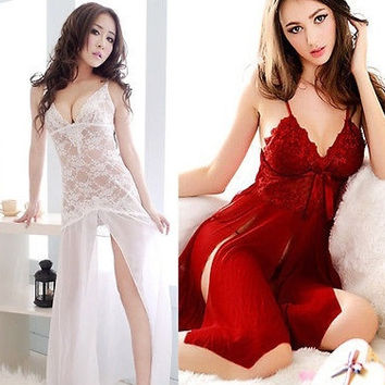 Womens Sexy Red Lady Dress Lingerie Underwear Robe Babydoll Sleepwear G-string = 1932803908