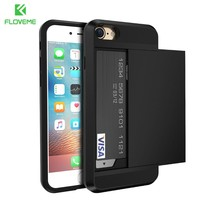 FLOVEME For iPhone 5S 5 SE 4 iPhone X 6 6S Cases Armor Hybrid Case For iPhone X 7 6 6S Plus Card Holder Men Phone Accessories