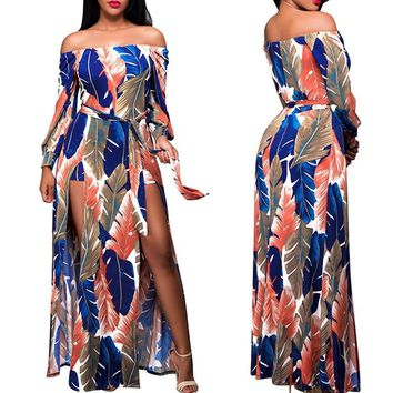 Double Split Off Shoulder Boho Maxi Dress