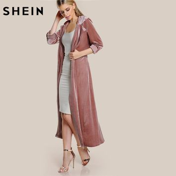 SHEIN Roll Tab Sleeve Belted Velvet Duster Coat Pink Single Breasted Work Lapel Long Sleeve Elegant Fall Womans Coats