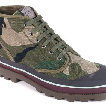 Valentino Men's Green Grey Camouflage Canvas Desert Boots