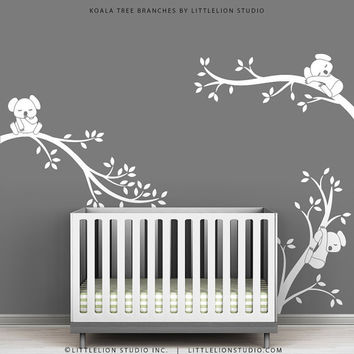 White Tree Wall Decal Gray Wall Modern Baby Nursery Wall Decor - Koala Tree Branches by LittleLion Studio