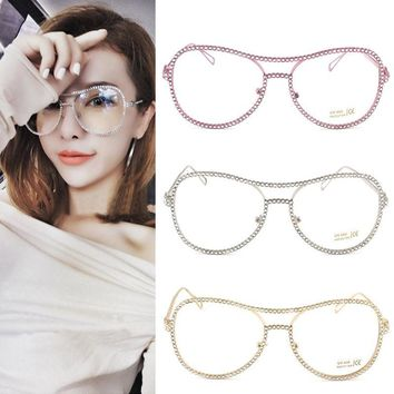 Oversized Metal Frame Clear Lens Rhinestone Eye Glasses Nerd Spectacles  Women Vintage Sun glasses Mirror oculos gafas de sol