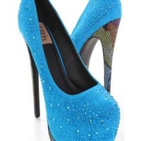 Blue Faux Suede Upper Rhinestone Detail Printed Platform Heels @ Amiclubwear Heel Shoes online store sales:Stiletto Heel Shoes,High Heel Pumps,Womens High Heel Shoes,Prom Shoes,Summer Shoes,Spring Shoes,Spool Heel,Womens Dress Shoes,Prom Heels,Prom Pumps,