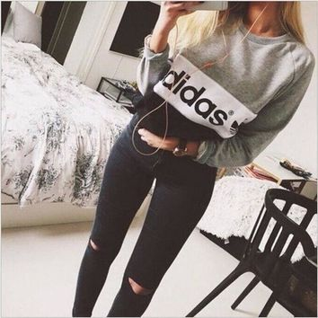 Multi Color 'adidas' Letter And Logo Print Long Sleeve Sweater