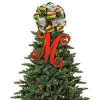 Christmas Tree Topper - Wood Single Initial - Script | Monogrammed Gifts | Invite Cottage