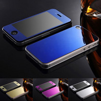(10pcs=5front+5back) For iPhone4 glass film 4S colorful Screen Protector plating tempered glass for IPHONE 4 4S film