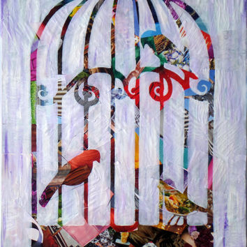 Bird art, bird print, Bird Cage Decor, Bird artwork, Bohemian decor, wall art, Painting of bird, Whimsical Art, gift for mom, bird nursery