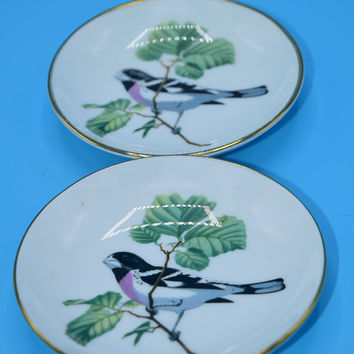 Crown Staffordshire Bird Butter Pat Dishes Vintage Pair Fine Bone China Pin Dish Trinket Ring Holder Set of 2 Bird Plates Bird Collector