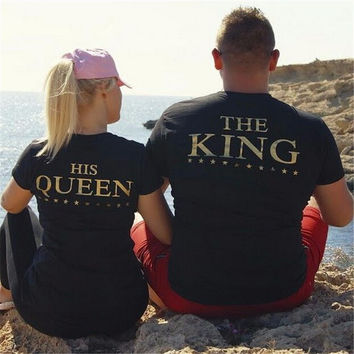 King Queen T Shirt Imperial Crown Printing Couple Clothes lovers Tee Shirt Summer 2017 Casual O-neck Tops