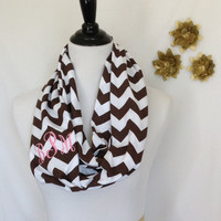 Monogrammed Brown and White Chevron Infinity scarf, Brown Chevron Infinity scarf, Infinity scarf, monogrammed gift