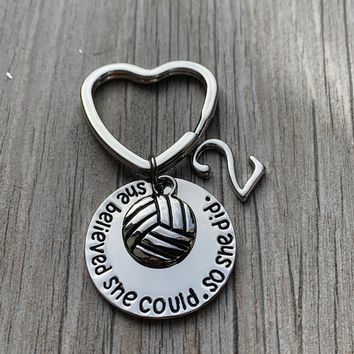 Volleyball Keychain - She Believed She Could So She Did