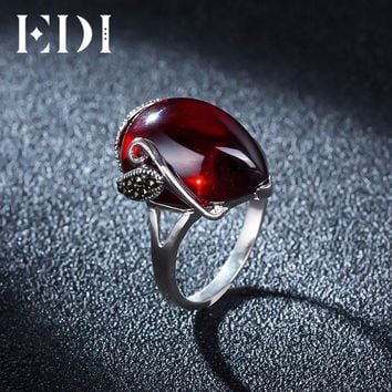 EDI Vintage 925 Sterling Silver Garnet Rings For Women Natural Semi-Precious Stones Fine Jewelry Accessories Girlfriend Gift