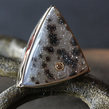 Druzy Jasper and Chocolate Diamond Ring in 14kt Gold and Sterling Silver