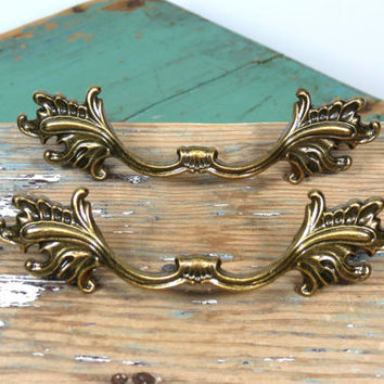 Vintage French Provincial Drawer Pulls * Ajax Hardware Mfg Corp * Made in USA * Ornate Dresser Handles * Furniture Knobs
