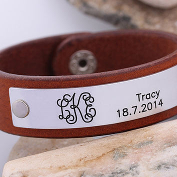 Personalized Leather Bracelet - Leather Monogram Bracelet  -  Mens Leather Cuff  - Anniversary Gift