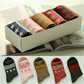 2016 New Womens Girls Comfortable Casual Stars Print Warm Sstockings (5 PCS) Socks-52