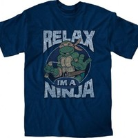 Teenage Mutant Ninja Turtles Relax I'm A Ninja Adult Navy T-Shirt - Teenage Mutant Ninja Turtles - | TV Store Online