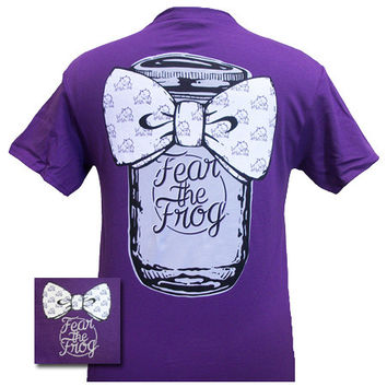 New Texas TCU Horned Frogs Mason Jar Big Bow Girlie Bright T Shirt