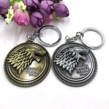 DCCKL6D Movie TV Jewelry House Stark Game Of Thrones Winter Is Coming Wolf Head Keychain Top Grade Gothic Cool Man Key Chains Ring Gifts