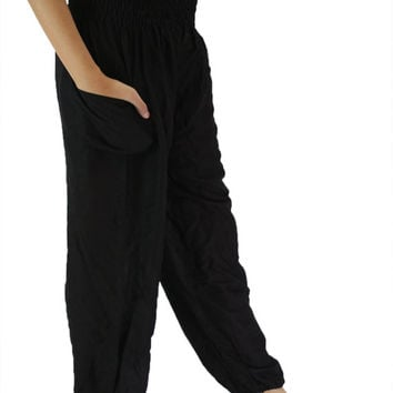 Hippie pants / Harem pants / Boho pants / Yoga pants one size fits black