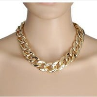 Gold Chunky Large Bling Statement Curb Chain Fashion Necklace Choker By VAGA®