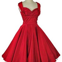 Red Stretch Cotton 50s Style Shelf Bust Swing Dress