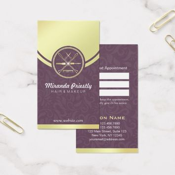 Beauty Salon Purple Gold Makeup Tools Appointment Business Card