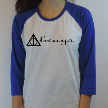 Deathly hallows symbol Harry Potter always Jersey Tee. Baseball Shirt Blue color American Girl Clothing