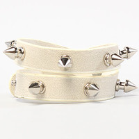 The Wrap Me Up Spiked Bracelet in Gray