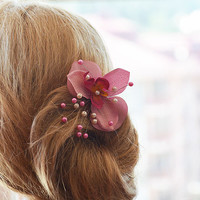Pink Flower Hair Combs,  Wedding Hair Accessories,  Bridal Hair Pieces, hair pin Clips Fascinator, Hair Flower,  Bridesmaid