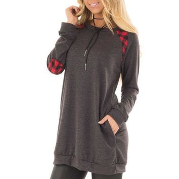 Round Neck Plaid Splicing Pocket Long Sleeved Sweater