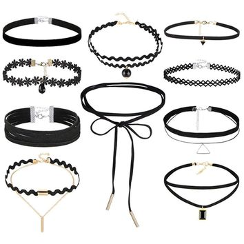 Atomic 10-Piece Black Gothic Choker Set