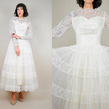 white LACE Tulle vintage 1950's Tea Length Wedding DRESS Full sweep circle Sheer Bridal Crinoline xxs / xs