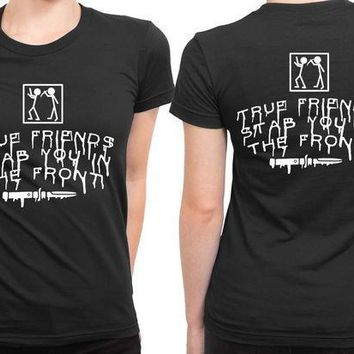 ESBH9S Bring Me The Horizon True Friends Stab You In The Front Stab Illustrations 2 Sided Womens T Shirt