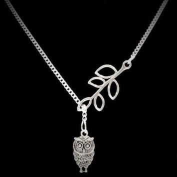Owl And Branch Leaf Bird Family Tree Y Lariat Necklace