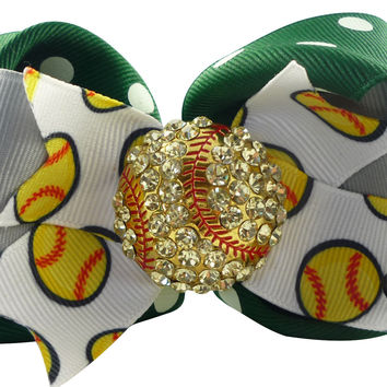 Forest Green & Gray Softball Hair Bow Clip with Rhinestone