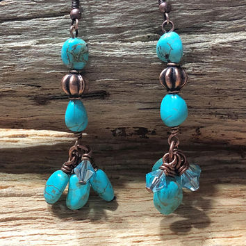 Copper and Magnesite Earrings, Gemstone Earrings, Dangle Earrings, Crystal Earrings, Blue Earrings, Copper Jewelry, Stone Earrings