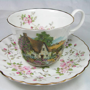 Vintage ALLYN NELSON COLLECTION Fine Bone China Tea Cup and Saucer Set Made in England, Lovely!