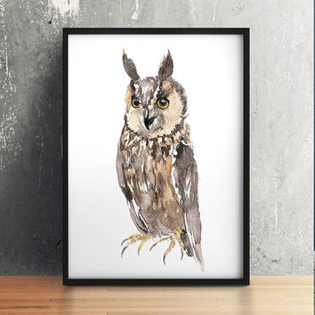 Long eared owl poster Nursery watercolor Cute bird art print ACW156
