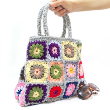ON SALE, Crochet bag, Crochet Flower Handbag, Afghan bag, Shoulder, Purse, Granny Square, Handbag, Tote Bag, Crochet bag, Purse, Mom gift
