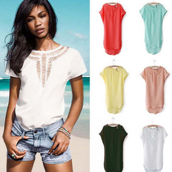 New European style Famous brand Carved hollow chiffon shirt Spring Summer fall women tops